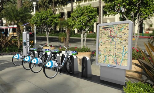 A rendering of a bike share station in LA. (Courtesy Bike Nation)