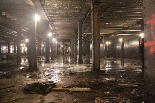 The trolley terminal today is dark and dirty but features tall ceilings and industrial details. (Courtesy Delancey Underground)