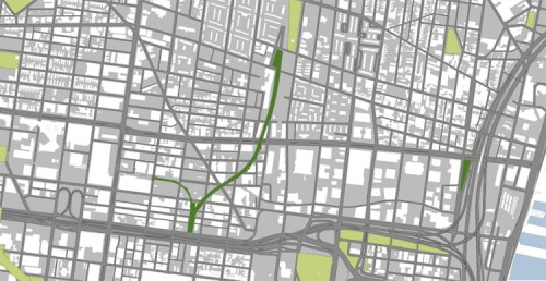 SEPTA Spur on the west is the key entry point to the Reading Viaduct (image courtesy of Studio Bryan Hanes).