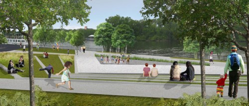 Rendering of proposed Troy park (image courtesy of W-Architecture).