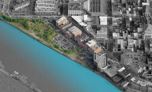 Existing site conditions at Troy's waterfront (image courtesy of W-Architecture).