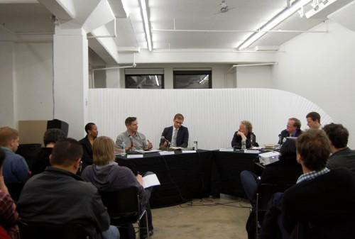 Special Agent Brenda Cotton, Matt Jones of BERG, Yale SoA's Jimmy Stamp, Filmmaker Magazine's Scott Macauley, and Retired Special Agent Thomas McShane and Studio-X's Geoff Manaugh