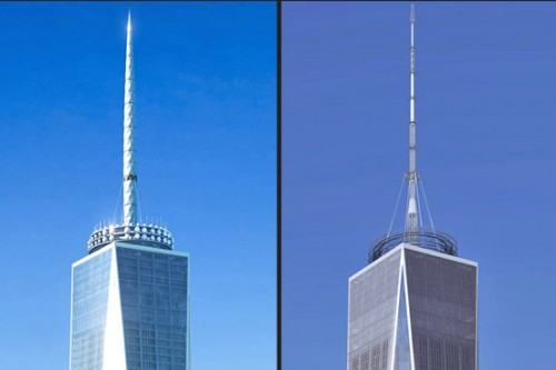 The SOM spire at left and the Durst/Port replacement at right. (Courtesy SOM/Durst)