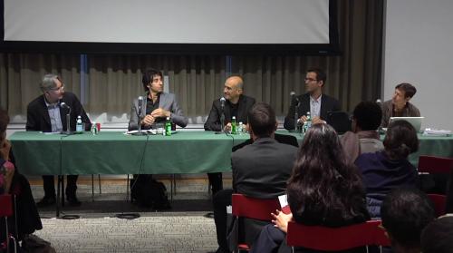 Moderator Reinhold Martin, Andrew Ross, Fred Levrat, Bill Van Esveld, Peggy Deamer (Courtesy Vera List Center)