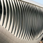 Elastic deformation of the pavilion's glass-fiber reinforced plastic lamellas give its facade movement (Soma)