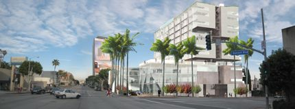 Rendering of Moss' Sunset Strip Hotel (courtesy Eric Owen Moss Architects)