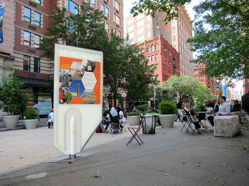 ARO's prototype art display in Bogardus Plaza. (Branden Klayko/AN)