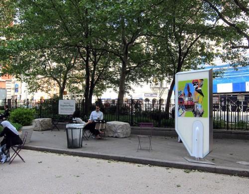 ARO's prototype art display in Bogardus Plaza. (Branden Klayko/AN)