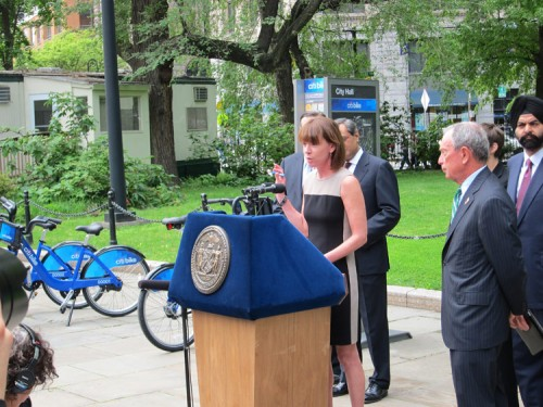 NYCDOT Commissioner Janette Sadik-Khan explained the details of the new Citibike system. (Branden Klayko / AN)