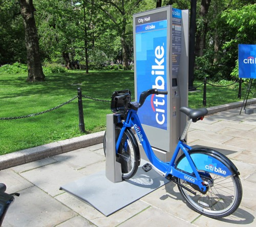 A Citibike demonstration at today's announcement. (Branden Klayko / AN)