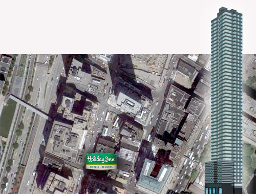 The world's tallest Holiday Inn under construction in Manhattan. (Rendering via ReBusiness Online)