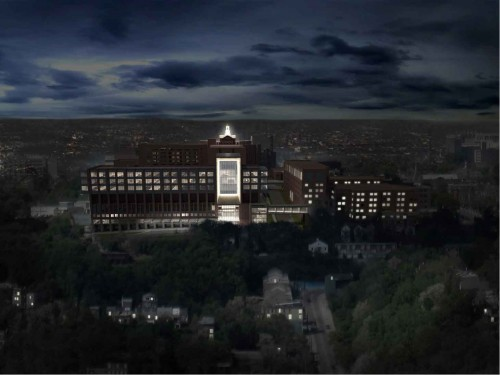 SOM'S CHRIST HOSPITAL IN CINCINNATI GLOWS LIKE A BEACON IN THE MT. AUBURN NEIGHBORHOOD. (IMAGE COURTESY SOM)