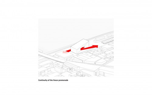 Red arrows depict how the building will relate to the public space on the riverfront.
