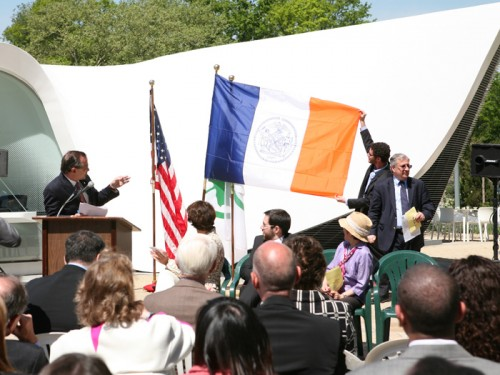 At the opening of the Dutch Pavilion, Benepe expounds on Dutch symbols found in NYC's flag.
