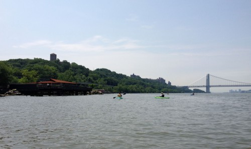 The view south includes the Cloisters at left and the George Washinton Bridge.