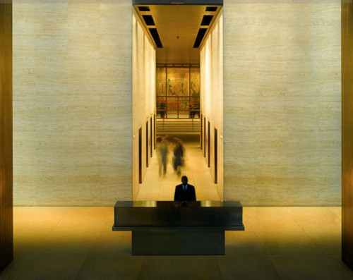 One of Harris's still photos of the Seagram lobby. (Coutesy Jesse Harris)