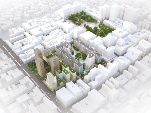 NYU's plan encompasses two superblocks south of Washington Square (Courtesy NYU)