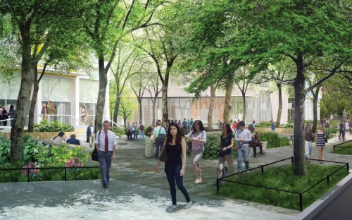 Mature trees on the DOT strips will be preserved. (Courtesy NYU)