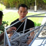 The team has to manage up to 25 bundles of rope for each bay of the installation (Clifford Ho)