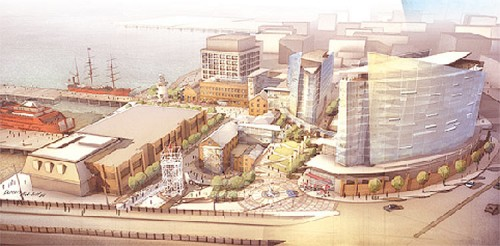 Proposed Lighthouse Point mixed-use development with lighthouse and Building 11 to the left (courtesy Triangle Equities)