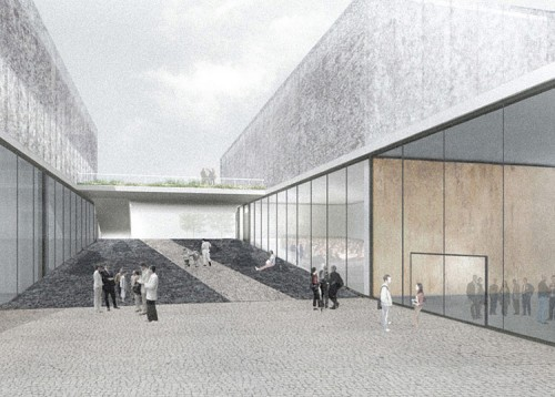 A public path cuts through Mrdeza's design. (Courtesy Washington University)