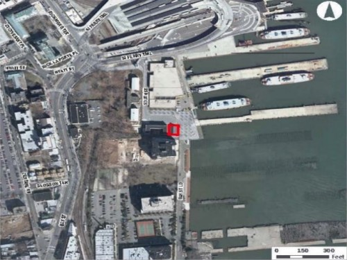 Aerial perspective of St. George Ferry Terminal and Building 11, outlined (Courtesy NYCEDC)