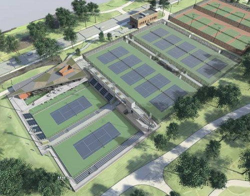 An aerial view of the Leeds Tennis Center. (Courtesy Peter Gluck Architects)