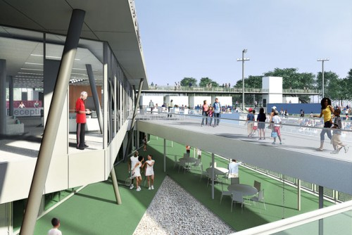 The multi-level Cary Leeds Center for Tennis & Learning in the Bronx is decidedly democratic. (Courtesy Peter Gluck and Partners)