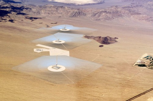 Rendering of the Ivanpah Solar Electric Generating System in the Mojave Desert (Ivanpah)