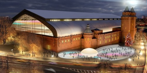 Rendering of the Kingsbridge Armory showing its use as an ice center.