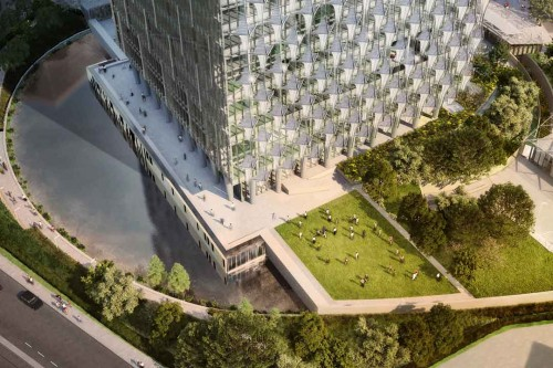 The embassy's multi-leveled perimeter, reflecting ponds, and landscaped barriers act as anti-ram deterrents.