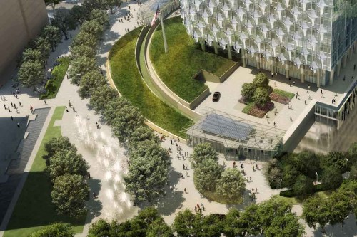Three entrance pavilions include the photovoltaic panels into their rooftops as well.