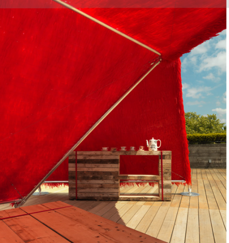 The tea pavilion uses recycled materials from old teacups to the timber for used for the seating plinth and tea bar.