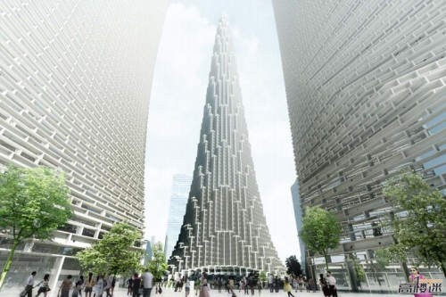 Rendering of BIG's planned supertall tower in Tianjin. (BIG/Courtesy SkyscraperCity)