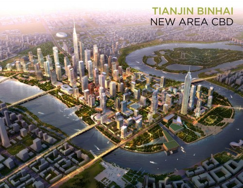 SOM's master plan for Tianjin Binhai New Area Central Business District. (SOM/Courtesy SkyscraperCity)