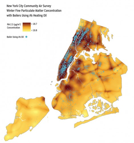 Map showing wintertime ground-level PM2.5 concentrations—as measured by the NYC Department of Health and Mental Hygiene at 150 monitoring sites across the City – overlaid with the locations of buildings that burn No. 6 oil. (Courtesy NYC DOHMH)