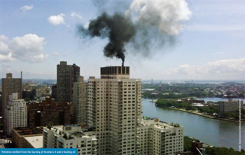 Hazardous smoke rises from a building using heavy oils. (Courtesy Environmental Defense Fund/Isabelle SIlverman)