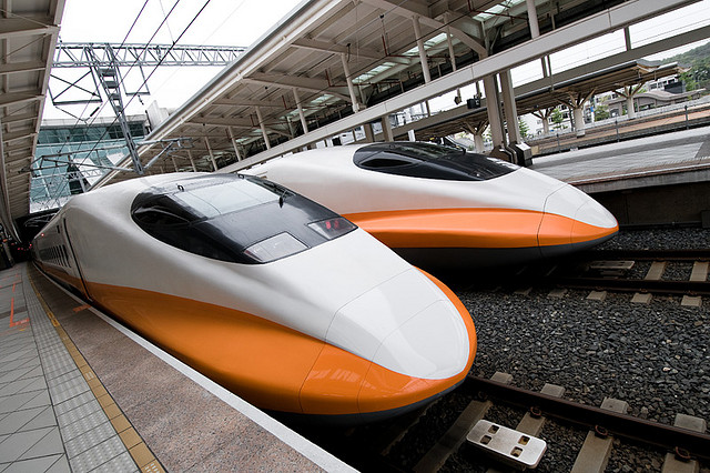 High-speed rail in Taiwan, where trains run at approximately 185 mph. (Image courtesy Flickr user loudtiger.)