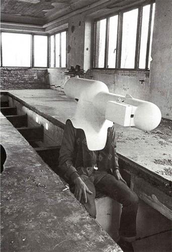 """Walter Pichler, """"TV Helmet/Portable Living Room,"""" 1967."""