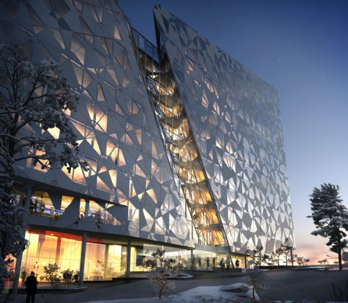 "Snohetta's ""Barcode"" office building proposal for Oslo. (Courtesy Snohetta)"