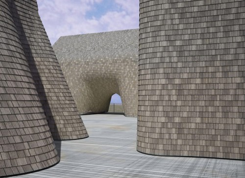"""Latent Methods"" explores the possibilities of shingles. (Courtesy of Tex-Fab)"