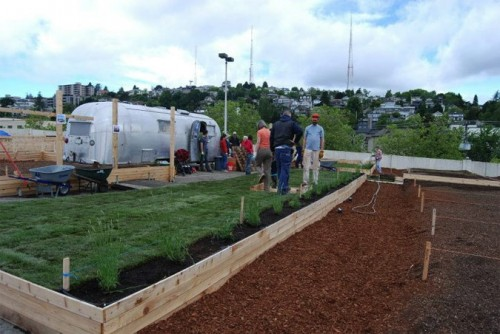 Fresh sod in front of a repurposed Airstream tool shed. (Courtesy UpGarden P-Patch)