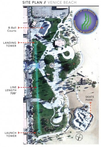 Site map of the Venice Zip Line; The total length has been shortened to 600 feet. (Courtesy Hans Walor)