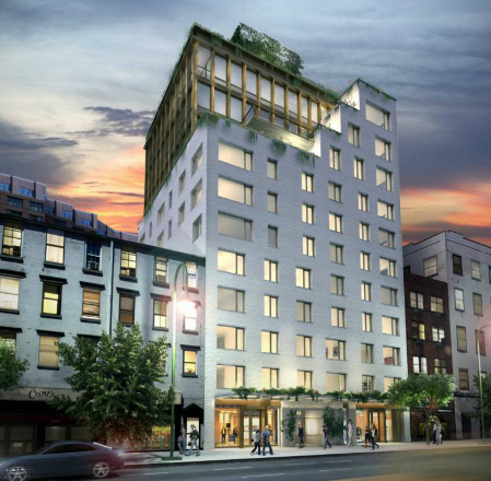 345meatpacking's Kalumba brick facade will give way to steel at its apex.