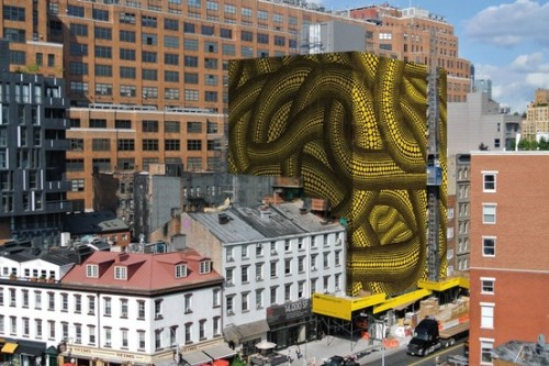 Yayoi Kusama's dotted screen on scaffolding at 345Meatpacking serves a dual purpose.