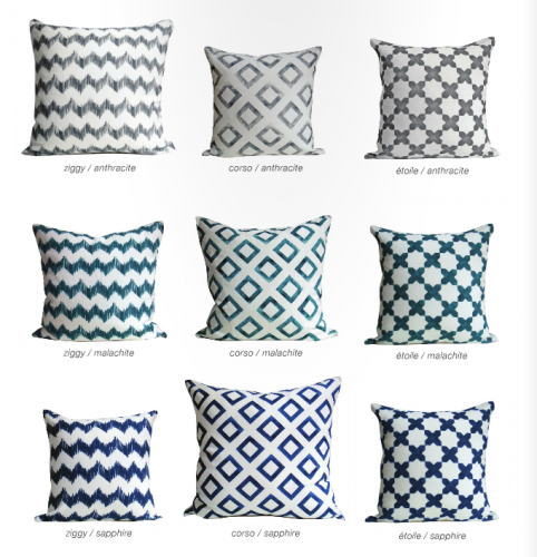 The Watercolor Linen pillows are digitally printed with water-based inks.