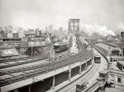 Brooklyn Bridge ca. 1903 showing walkway enclosed by elevated train lines on top and trolley lines on side (Courtesy Office of Brad Lander)