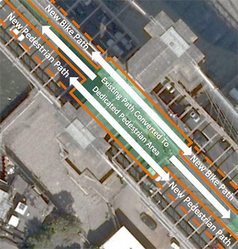 Detail of buttress showing existing path (solid orange) and proposed extension (dotted orange) (Courtesy Office of Brad Lander)