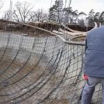 Installing steel reinforcing for the skatepark. (Courtesy L'Escaut Architectures)