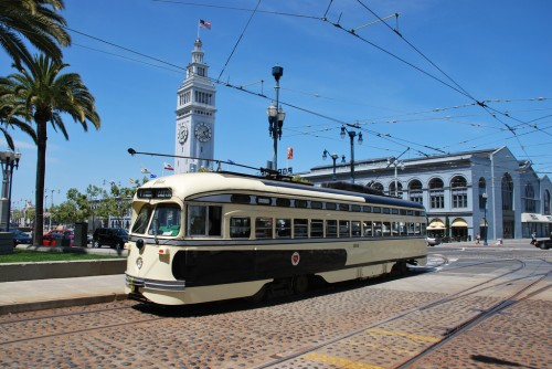 An old Kansas City streetcar rolls through San Francisco. (Image courtesy Jamison Wieser via Flickr.)